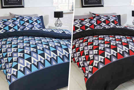 StyleMyBedroom - Reversible Geometric Duvet Set Choose from 2 Colours - Save 0%