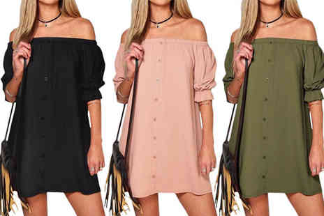Richardson Group - Off The Shoulder Mini Dress Available in 3 Colours - Save 60%