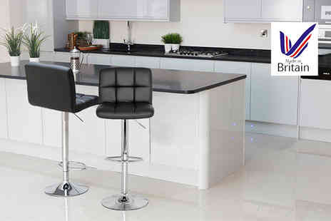 British Bar Stools - Two cube breakfast bar stools select from two colours - Save 65%