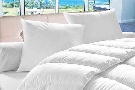 Home Furnishings Company - Single, double, king or super king size 4.5 tog summer duvet with four pillows - Save 66%