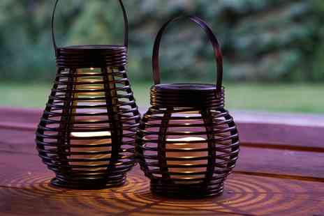 Groupon Goods Global GmbH - One or Two Solar Powered Led Rattan Lanterns - Save 67%