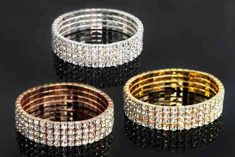 Groupon Goods Global GmbH - Four Row Pave Stretch Bracelet Made with Crystals from Swarovski - Save 86%