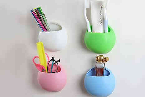 SA Products - Wall Mounted Suction Cup Toothbrush Holders in 4 Colours - Save 73%