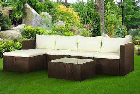 Evre - Five piece rattan furniture set or rattan set with outdoor cover choose brown or black - Save 63%