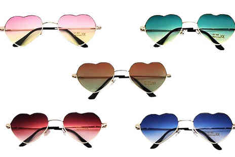 Fakurma UK - Tinted Heart Shape Sunglasses in 5 Designs - Save 75%