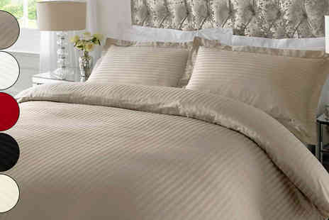 Gorgeous Selection - 100% Cotton Satin Stripe Duvet Set in 5 Colours - Save 68%