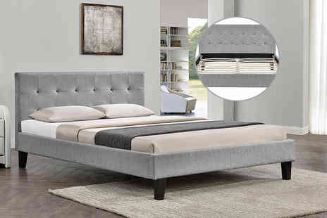 IT Ideas - Single, double or king Blenheim grey fabric upholstered bed frame - Save 70%
