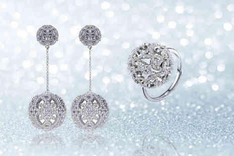Fakurma - Zircon lace pave ball and earring set - Save 84%