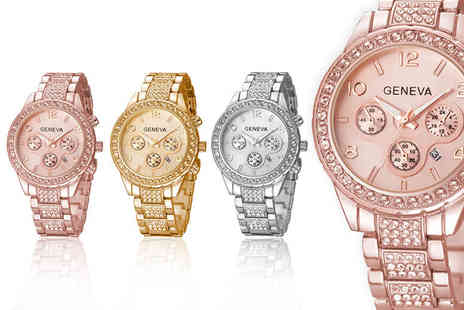 Solo Act - Crystal Geneva Freya watch choose from rose gold, gold or silver colours - Save 80%