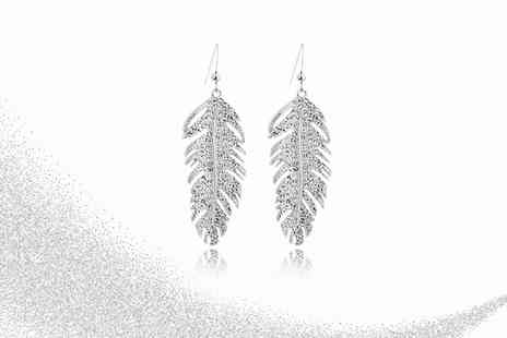 Your Ideal Gift - Pair of silver plated feather drop earrings made with crystals - Save 85%