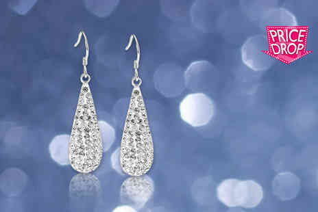 Evoked Design - Pair of 18ct white gold plated crystal earrings - Save 90%