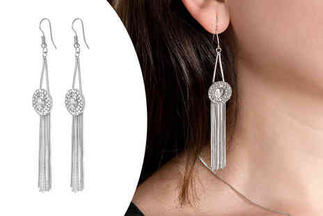 GameChanger Associates - Pair of 18K white gold plated pendulum earrings - Save 94%