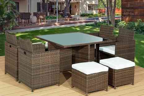 Rattan Trends - Nine piece cube rattan dining set - Save 68%