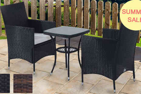 Mhstar - Black Rattan Bistro Set - Save 65%