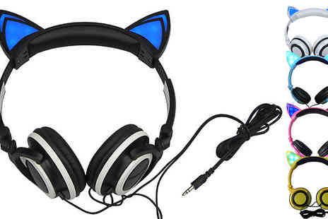 Graboom - Cat Led Headphones Choice of 5 Colours - Save 0%