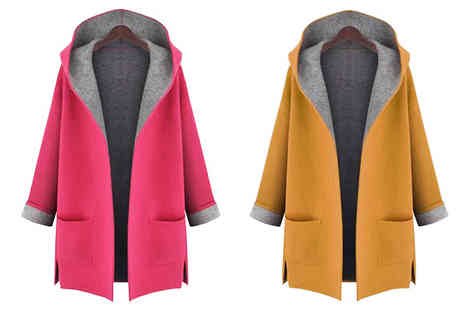 Graboom - Contrast Detail Hooded Coat Choose from 2 Colours, 5 Sizes - Save 0%