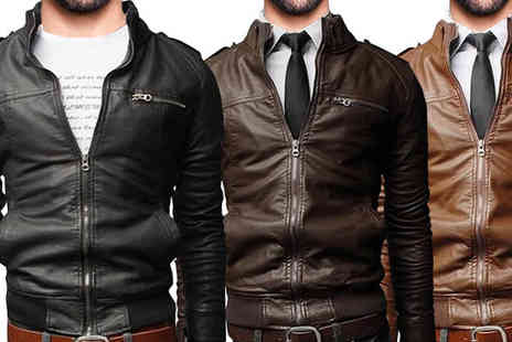 Graboom - Faux Leather Bomber Jacket Available in 3 Colours, 4 Sizes - Save 0%