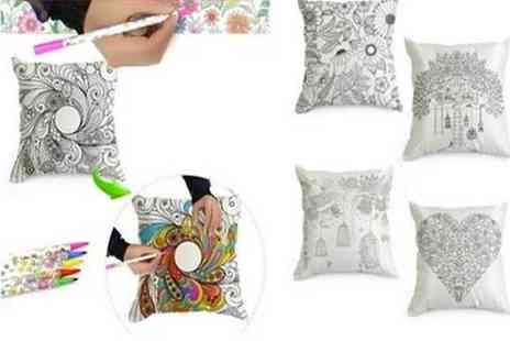 Graboom - DIY Colouring Cushion Set with 12 Colouring Pens - Save 0%