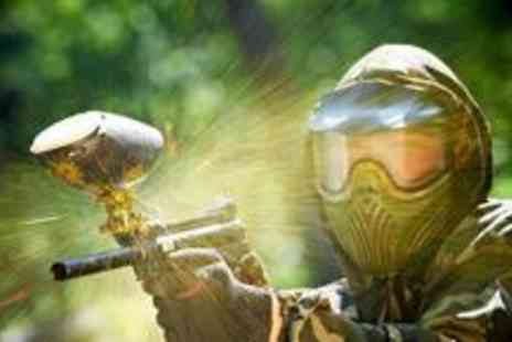Amazon Events - Paintball session for up to five people, with refreshments and 100 paintballs per person included - Save 93%