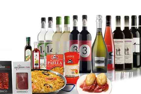 San Jamon - 12 Bottles Spanish Red, White or Mixed Wine with Spanish Food and Paella Pan - Save 47%