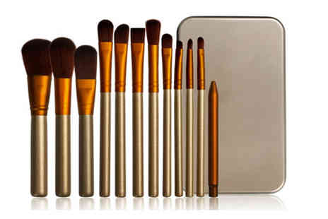 Forever Cosmetics - 12 piece gold and white makeup brush set with a metal case - Save 82%