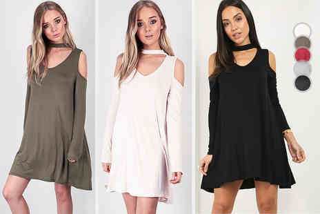 Be Jealous - Cold shoulder choker neck swing dress choose black, grey, khaki, rose or wine - Save 66%