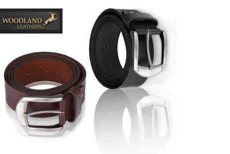 Woodland Leathers - Mens leather belt choose from two colours - Save 75%