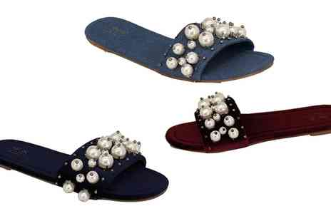 Groupon Goods Global GmbH - Womens Denim Sliders with Pearl Detail - Save 0%