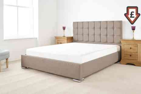 Groupon Goods Global GmbH - Thames Textured Linen Bed Frame with Optional Mattress With Free Delivery - Save 58%