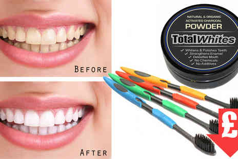 HK Betty Technology - 1 Charcoal Teeth Whitening Powder plus 4 Charcoal Toothbrushes - Save 85%