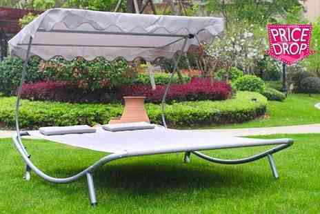 Your Essential Store - Double outdoor sun lounger with canopy choose from beige or brown - Save 76%