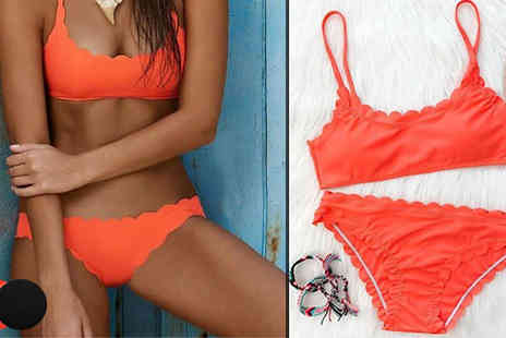 Bonicaro Design - Scallop Edge Bikini Available 2 Colours - Save 65%