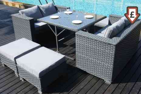 Groupon Goods Global GmbH - Rattan Effect Eight Seater Cube Dining Set with Rain Cover With Free Delivery - Save 0%