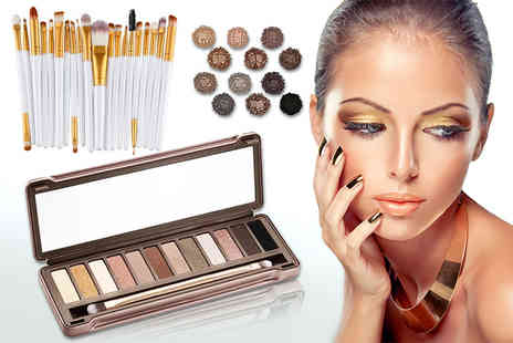 Forever Cosmetics - 20 piece eye makeup brush set and 12 colour eye shadow palette - Save 91%