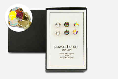 Pewterhooter Design - Three pairs of sterling silver stud earrings made with crystals from Swarovski - Save 77%
