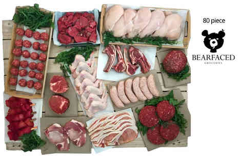 Bearfaced Groceries - 50 or 80 piece award winning meat hamper - Save 46%
