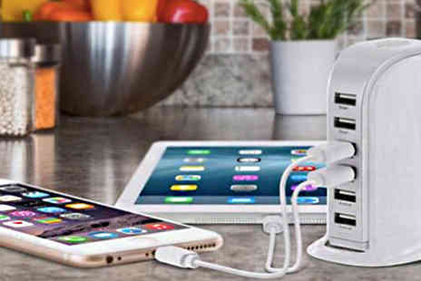 Intradify - 6 Port Tower Usb Charger with Free Cable - Save 0%