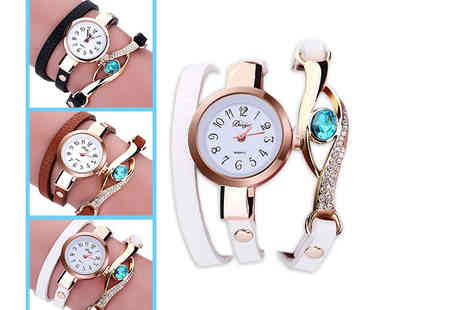 Alvis Fashion - Crystal wrap watch choose from three colours - Save 82%