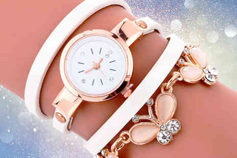 Solo Act - Butterfly crystal wrap watch choose black, white or pink - Save 82%