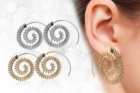 Your Ideal Gift - Two of pairs of spiral pull through earring set - Save 77%