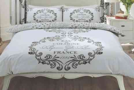 Groupon Goods Global GmbH - Reversible Paris Script Duvet Set in Choice of Colour and Size - Save 57%