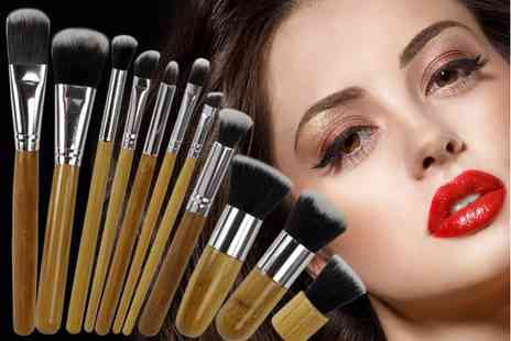 Ckent - 11pc bamboo makeup brush set - Save 59%
