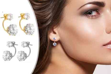Fakurma - Two pairs of double solitaire gold plated earrings made with zircon - Save 90%