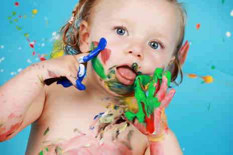 "Wink Photography - Childrens paint splash photoshoot with three 10"" x 8"" prints and a mug of your favourite image - Save 96%"