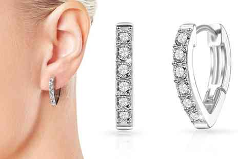 Groupon Goods Global GmbH - One or Two Pairs of Huggie Hoop Earrings with Crystals - Save 82%