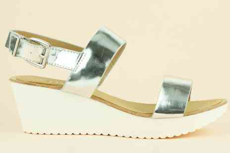 Groupon Goods Global GmbH - Womens Silver Wedge Sandals - Save 0%