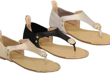 Groupon Goods Global GmbH - Womens Diamante Sandals with Toe Post in Choice of Colour - Save 0%