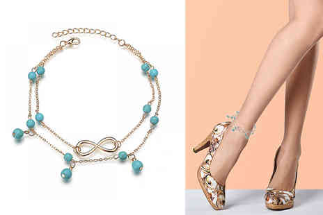 Your Ideal Gift - Infinity turquoise bead anklet - Save 76%