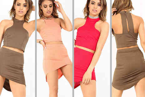Be Jealous - Crop top and asymmetric skirt co ord set choose from seven colours - Save 45%