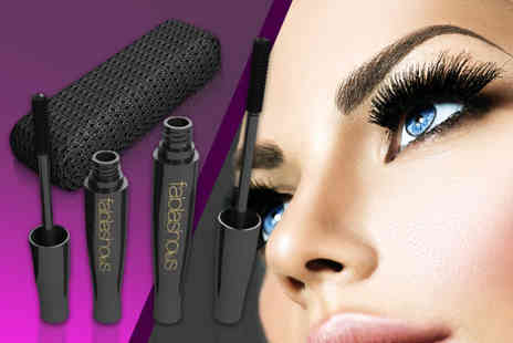 Forever Cosmetics - Set of two Fablashous 3D fibre lash mascaras with a carry case - Save 81%